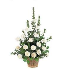 TF 186-3 White Carnation Basket