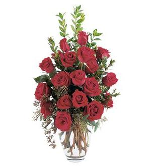 TF219-1 Red Roses in Tall Vase