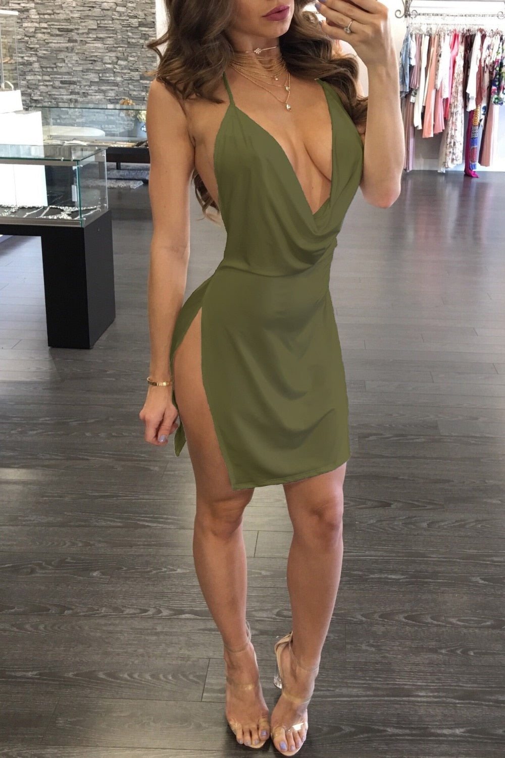 Sexy Mini V Neck Dress.