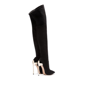 'Etta' Thigh High Boots - Black - Clothing Buy Love