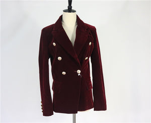 Long Sleeve Velvet Blazer cum Jacket with Women Gold Button