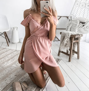 MINI BEACH SEXY LACE STRAPLESS DRESS