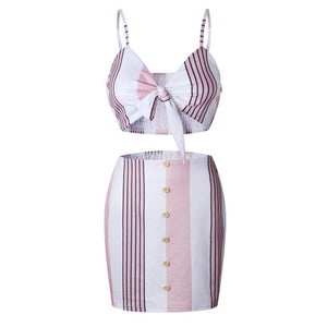 Beach Beauty Bow Stripe Spaghetti Straped V Neck Two Piece with Mini Pencil Skirt