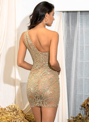 GLITTERED ONE SHOULDER GOLDEN DRESS