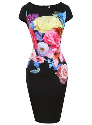 SUMMER DRESS ROSE PRINT SLIM SEXY PENCIL DRESS