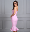 PINK STRAP FAIRY STYLE V NECK EVENING DRESS