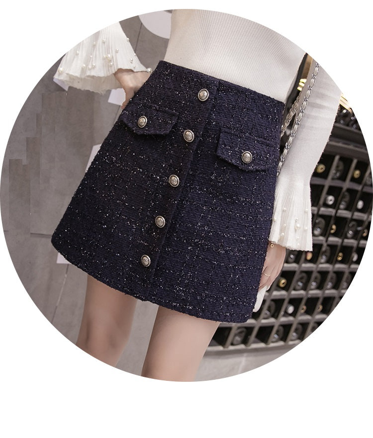 'Black' Small fragrant Buttons Tweed Mini Skirt