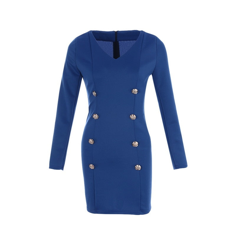 Long Sleev V Neck Button Blazer Dresses