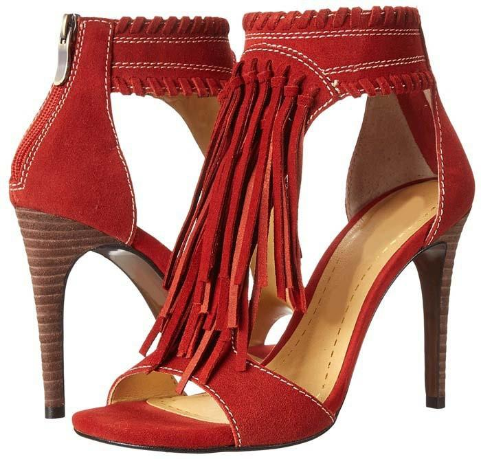 'Rezy' Suede Fringe Heels - Red - Clothing Buy Love