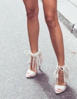 'Karma' Fringe Heels - White - Clothing Buy Love