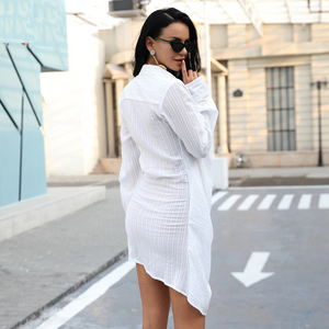 """Mariah"" Long Sleeve Irregular White Shirt Jacquard Dress"
