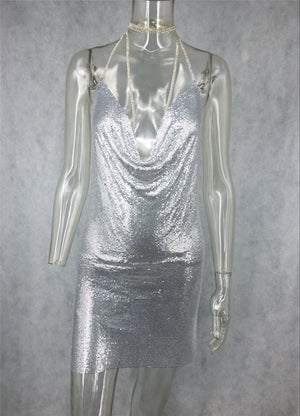 'Marina' Mesh Dress - Silver - Clothing Buy Love