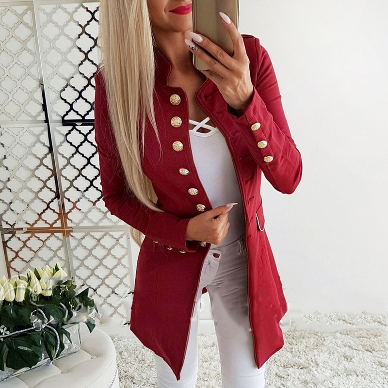 Red Beauty Slim Fit Blazer Long with Sleeves with Golden Buttons
