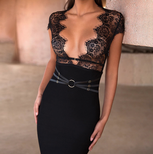 'Persis' Lace Bandage Dress - Black - Clothing Buy Love