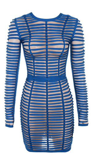 'Yannares' Strappy Mesh Dress - Blue - Clothing Buy Love