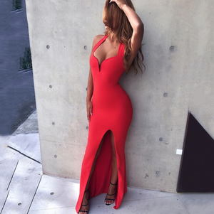'Svetlana' Halter Maxi Dress - Red - Clothing Buy Love
