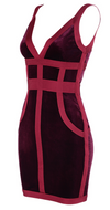 'Svana' Bandage Velvet Mini Dress - Deep Red - Clothing Buy Love