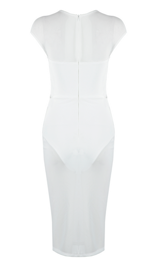 'Hensley' Cutout Mesh Midi Dress - White - Clothing Buy Love