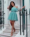 'Troian' Flirty Lace Mini Dress - Blue - Clothing Buy Love