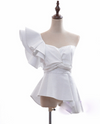 'Manya' One Shoulder Ruffled Top - White - Clothing Buy Love