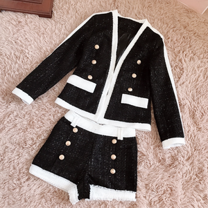 'Justyna' Tweed Blazer Short Set - Black and White - Clothing Buy Love