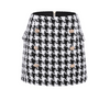 'Khair' Houndstooth Button Mini Skirt - Black and White - Clothing Buy Love