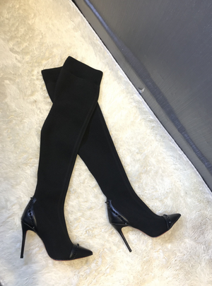 'Ariella' Studded Stretchy Thigh High Boots - Black - Clothing Buy Love