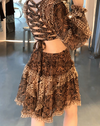 'Galienne' Printed Cutout Dress - Brown - Clothing Buy Love