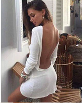 Summer Sexy Slim Long Sleeve Backless Cocktail Party Short Mini Dress
