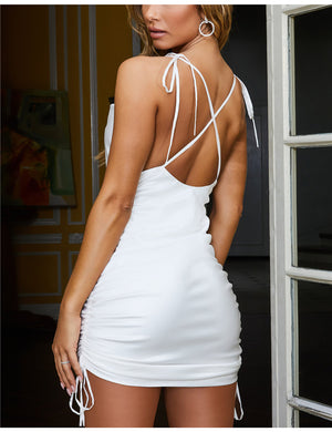 Adorable Short Backless Ruched Mini Dress