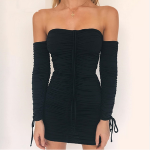 Bewitching Long Sleeve Off Shoulder Slim Elastic Party Dress