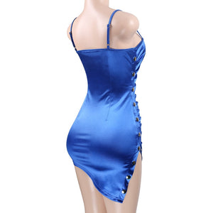 Cerulean Beauty Satin Bodycon Dresses with Side Button