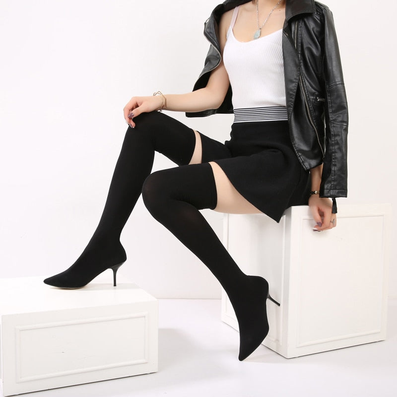 New Over The Knee Boots  with Elastic Sock with tretch Fabric