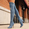 Thigh High Over The Knee High Bottes Peep Toe Pumps Hole Zipper Denim Jeans Shoes