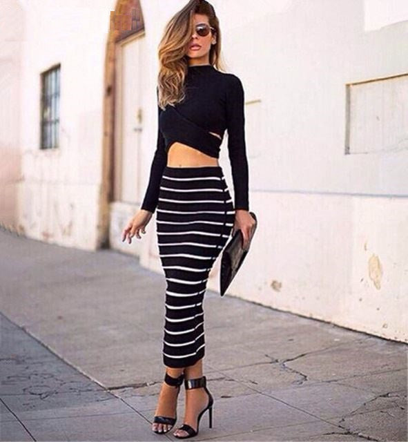 CLB's Sexy 2 Piece Set with Cross Crop Top And Striped Pencil Long Skirt Set