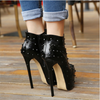 High heeled leather pumps snow ankle boots