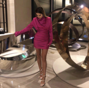 'Sahar' Silk Mini Dress - Pink - Clothing Buy Love