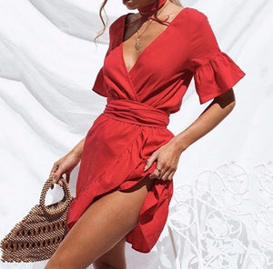 'Martina' Deep V Ruffled Mini Dress - Red