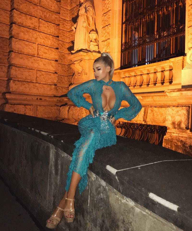 'Vlora' Ruffled Lace Jumpsuit - Teal - Clothing Buy Love