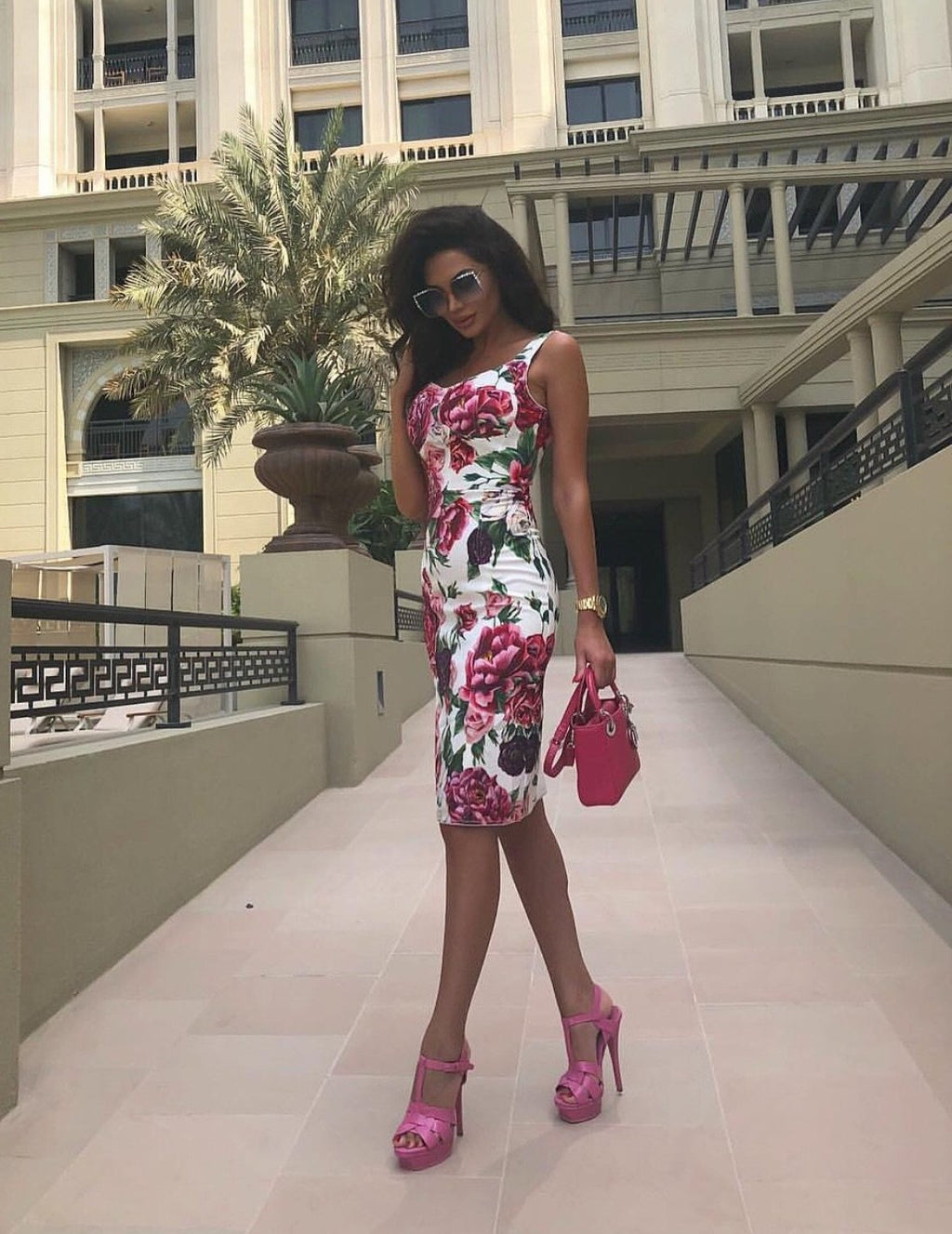 'Celise' Floral Bustier Dress - Rose - Clothing Buy Love