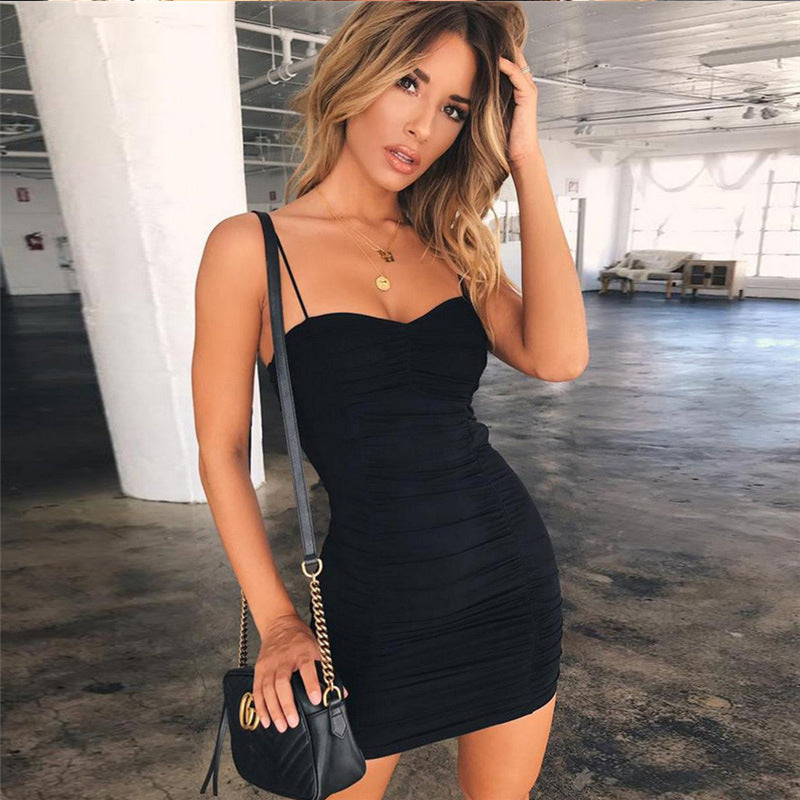 Black Beauty Pleated Spaghetti strap Party Bandage Dress