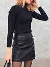 Eelegant Leather Mini Skirt with Buttons