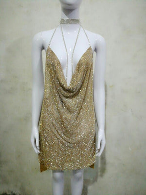 CBL Crystal Mesh Dress - Silver and Gold