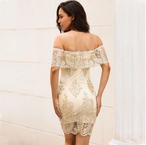 NEW SUMMER OFF SHOULDER EMBROIDERD SLIM SEXY DRESS