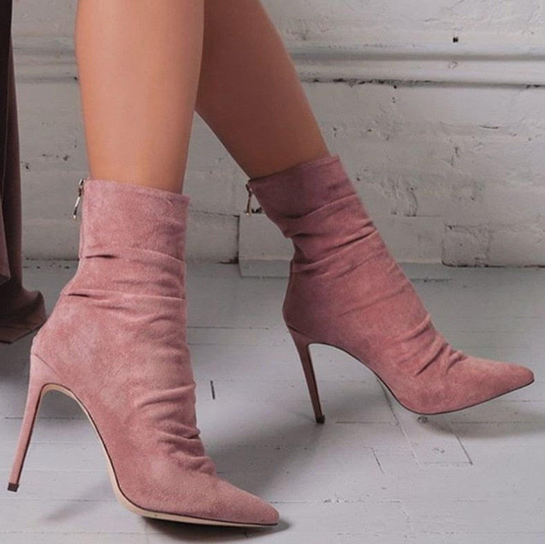 High Heel ankle Pointed Toe Boots with Suede zipper