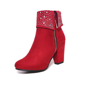 Thick heel botines british ankle Sexy Red boots By ClothingBuyLove