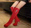 Zip Up Thin Heels Knee High Boots - Red and Nude