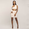 Sexy One shoulder long flare sleeve crop top skirt 2 pieces set