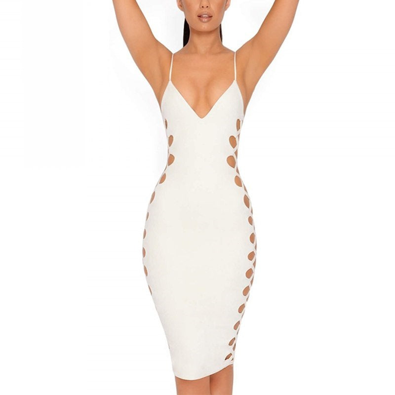 CBL's Side Hollow out Sexy Bandage Dress with Spaghetti Strap Deep V Neck Cut