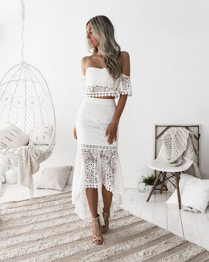 White Elegant Two Piece Party Outfits made of White Lace with Strapless Crop Top and Pencil Skirt